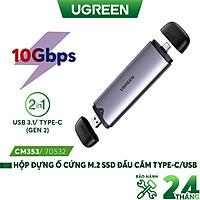 Hộp đựng ổ cứng M.2 NVME / PCIe - 10Gbps - UGREEN CM353 70532 - Chân cắm Type-C/USB3.1 2 trong 1 - Hàng nhập khẩu chính hãng