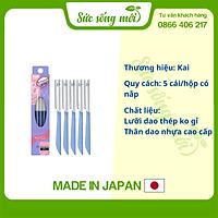 Hộp 5 dao cạo lông mày Kai xanh có lớp bảo vệ hàng Nhật