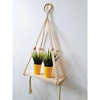 Kệ tết dây cotton xoắn kết hợp hạt gỗ treo tường trang trí gỗ thông tự nhiên- Kích thước DxR: 40x15cm ( Kệ không bao gồm các sản phẩm khác). KTT290321