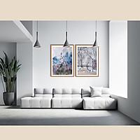 Bộ 2 tranh canvas phong cách màu nước (watercolor) - Lâu đài - WT023