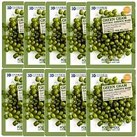 Bộ 10 Gói Mặt Nạ Nuôi Dưỡng Da 3D Foodaholic Green Gram Natural Essence Mask 23ml x10