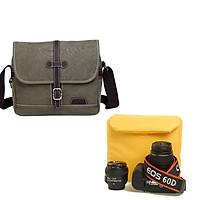 Túi máy ảnh Canvas retro màu rêu