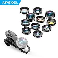 APEXEL APL-DG11 Universal Professional HD Phone Camera Lens Kit 11in1 Micro Lens 140° Wide Angle Lens 205° Fisheye Lens