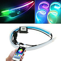 2pcs Car Sequential Flowing RGB Daytime Running Light DRL APP Multi Color Light Strip Turn Signal Lights