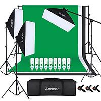 Andoer Photography Kit 1.8*2.8M Black White Green Polyester Cotton Backdrop 3pcs Fish-like Mount Clip 2pcs 50cm*70cm