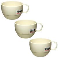 Combo 3 Cốc uống nước dáng thấp Inomata màu trắng sữa nội địa Nhật Bản