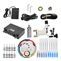Complete Tattoo Kit Pro Tattoo Machine Kit Rotary Power Supply Color Inks 12color Wheel Card Paper
