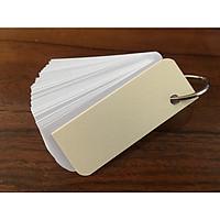 1000 thẻ flashcard trắng (tương ứng 10  xấp mỗi xấp 100 thẻ) 3x8 siêu dày bo góc kèm khoen bìa