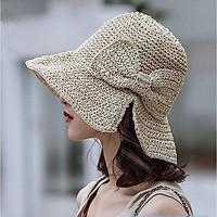 Mũ cói raffia mềm đi biển đan trơn đính nơ vành rộng chống nắng có thể gấp gọn thời trang phong cách Hàn Quốc hàng cao cấp- Smice House