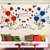 Decal dán tường Đôi hoa hồng nhung đỏ và xanh - HP446