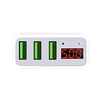Bộ Sạc Pin Hoco C15 Superior 3 Cổng USB Màn Hình Kĩ Thuật Số Có Đèn LED - Hàng Chính Hãng