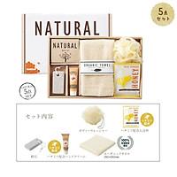 Bộ sản phẩm hộp 5 món bông tắm, khăn tắm, đá chà gót chân, muối tắm, kem dưỡng da tay hàng nội địa Nhật Bản