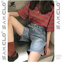 Quần đùi bò denim short Jeans nữ SAM CLO dáng suông ulzzang ống rộng lưng ôm cạp cao màu trơn CODE 303
