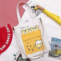 Túi tote bag vải canvas túi a4 đeo chéo đeo vai dùng đi học đi chơi TX94