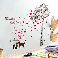 Decal dán tường love cat ZOOYOO SK9208