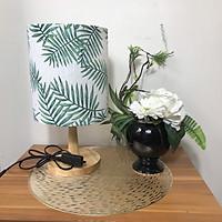 Đèn ngủ DB-B08 LÁ CỌ KIM , đèn ngủ trong phòng chân gỗ nhỏ, chao vải canvas hiện đại , công tắc bật tắt, tặng kèm bóng đèn