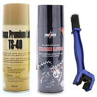 Bộ Combo bảo dưỡng sên Thunder 400ml, rửa sên TS-40 450ml tặng kèm bản chải chà sên