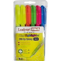 Bút dạ quang Leaderart LA302HL thân mảnh có nắp cài nhựa - Vỉ  hỗn hợp nhiều màu, giao ngẫu nhiên
