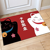 Thảm Nhà Bếp Mèo Thần Tài Vẫy Tay Maneki Neko Lau Chùi Chân Chống Trơn Trượt 40x60cm