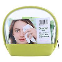 Túi Du Lịch Simple (Bộ 4 Sản Phẩm): Khăn Tẩy Trang Simple (7 Tờ) + Nước Hoa Hồng Simple (50ml) + Sữa Rửa Mặt Dạng Gel Simple (50ml) + Kem Dưỡng Ẩm Simple (50ml)