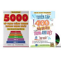 Sách- Combo 2 sách 5000 từ vựng tiếng Trung thông dụng nhất theo khung HSK từ HSK1 đến HSK6+tuyển tập 400 mẫu bài dịch Anh Hoa Việt hay nhất phiên bản mới (có phiên âm, có Audio nghe)+ DVD tài liệu