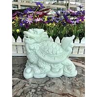 Tượng Long Quy ( Rùa đầu Rồng ) cõng gậy như ý phong thủy đá cẩm thạch trắng xanh - Dài 15 cm