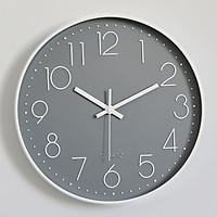 Đồng hồ treo tường tròn Quartz nhựa basic đính đá 25cm màu xám