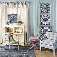 1 rèm cửa vải canvas màn trang trí phong cách vintage