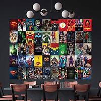 DC COMICS - Set 50 tấm 22x30cm decal dán tường trang trí decor quán nhà cửa chủ đề Siêu anh hùng DC Justice League