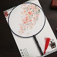 Quạt tròn cầm tay hoa anh đào cam hồng phong cách cổ trang Trung Quốc tặng ảnh Vcone