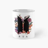 Ly cốc sứ BTS in logo cánh cửa BTS và hoa