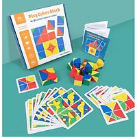 Đồ chơi xếp hình khối Tranh ghép gỗ 6 mặt lập phương thông minh cho bé - Đồ chơi giáo dục Tangram
