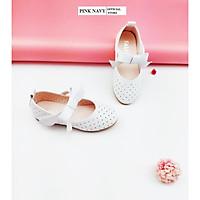 Giày búp bê Pink Navy gắn nơ bé gái siêu êm nhẹ từ 3-12 tuổi màu trắng