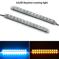 2pcs Car DRL Switchback LED Strip Light Headlight Arrowhead Flasher Turn Signal Waterproof Lamp