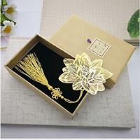 Bookmark đánh dấu trang sách hoa sen vàng cao cấp quà tặng ý nghĩa BK05