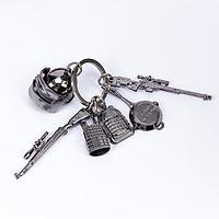 Móc khóa PUBG 6 món kim loại cho nam móc chìa khóa ô tô xe máy K98