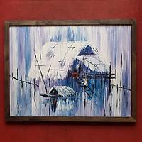 Tranh sơn dầu sáng tác vẽ tay: Đò dọc