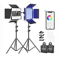 Bộ 2 đèn led quay phim chụp ảnh Neewer 660 RGB hàng chính hãng.