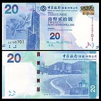 Tiền Hong Kong 20 dollar hình ảnh Hoa Lan và bãi biển mới cứng