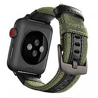 Dây đeo thay thế cho Apple Watch chất liệu dù và da sử dụng khóa thép không gỉ