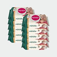 Combo 12 gói khăn ướt có nắp chống hăm, kháng khuẩn an toàn cho bé Mamamy 80 tờ/ gói