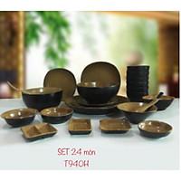 Bộ đồ ăn 24 sản phẩm men đen nâu gốm theo phong cách men nhật