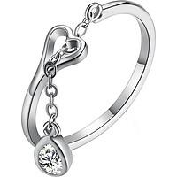 Nhẫn bạc nữ Trái tim bạc khoen móc giọt mưa