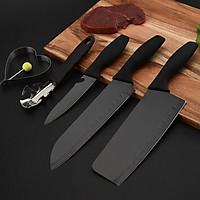 Bộ dao nhà bếp 5 món đen cao cấp tặng kèm 2 thìa inox