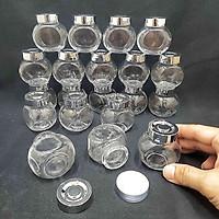 Combo 12 lọ thủy tinh nhỏ 50ml mẫu Tròn Dẹt kiểu Nghiêng - nắp nhựa màu bạc - hũ nhỏ đựng mật ong, sữa ong chúa, thực phẩm, mỹ phẩm