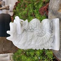 Tượng Rồng đá phong thủy 12 con giáp đá trắng xanh 12cm - đá Non Nước