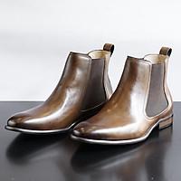 Giày Da Nam Chelsea Boot BK Da Thật Đánh Màu Patina Olive