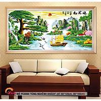 Tranh sơn dầu số hoá tự tô màu khổ lớn phong thuỷ trang trí - Mã PC3008 Tùng nghênh khách