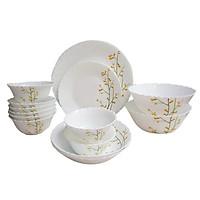 Bộ 16 món bát đĩa bằng thủy tinh ngọc Royal Stuart OPAL-B Hoa văn CITRON WEAVE