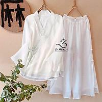 Quần áo Thiền cho phật tử, người tập yoga theo phong cách trang phục cổ trang Zambala- Nữ cài chéo